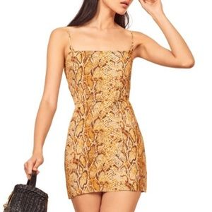 Reformation Vivette Yellow Snake Print Minidress